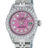 Rolex Ladies Stainless Steel 26MM Pink String Diamond
