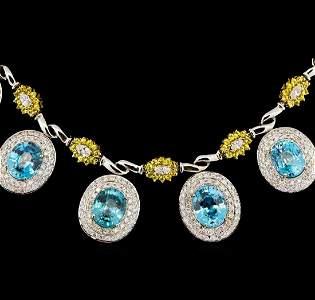 42.82 ctw Blue Zircon and Diamond Necklace - 14-18KT