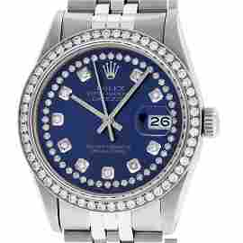 Rolex Mens Stainless Steel Blue String Diamond 36MM