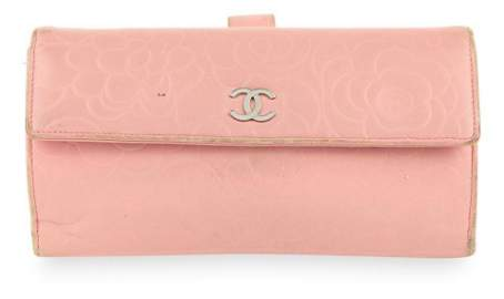 Chanel Pink Camellia Leather Wallet