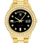 Rolex Mens 18K Yellow Gold Black Diamond 2.5 ctw