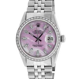 Rolex Mens Stainless Steel Pink MOP Baguette Diamond