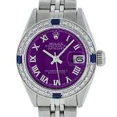 Rolex Ladies Stainless Steel Purple Diamond & Sapphire