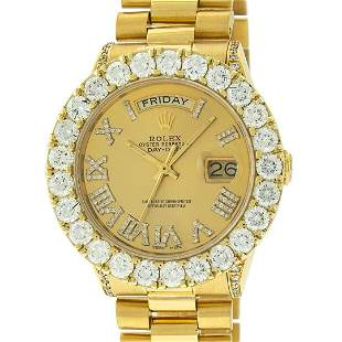 Rolex Mens 18K Yellow Gold Champagne Diamond 6.5 ctw