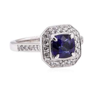 1.64 ctw Blue Sapphire And Diamond Ring - 14KT White