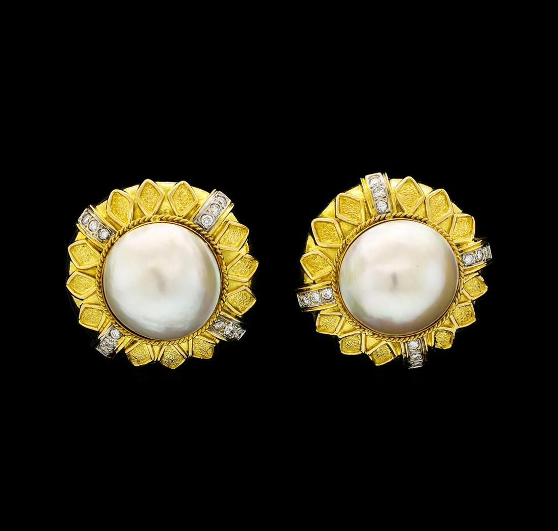 0.58 ctw Diamond and Pearl Earrings - 18KT Yellow Gold