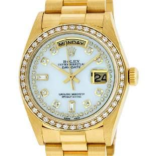 Rolex Mens 18K Yellow Gold MOP String Diamond Quickset