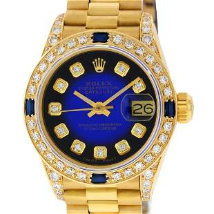 Rolex Ladies 18K Yellow Gold Blue Vignette Diamond And
