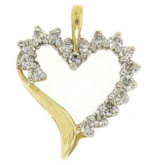 10K Solid Yellow Gold .50 ctw Partial Diamond Outlined