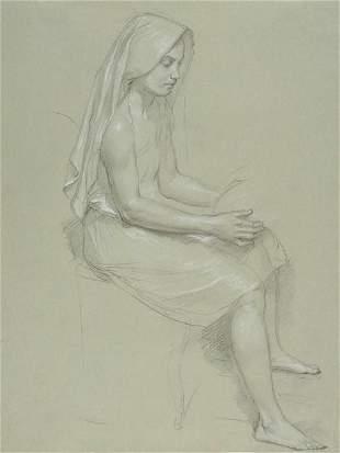 William Bouguereau - Study of Seated Veiled Female