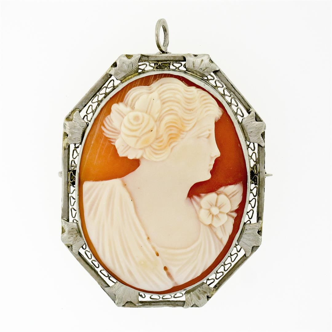 Antique Art Deco 14K White Gold Carved Shell Cameo Open