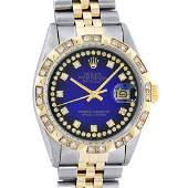 Rolex Mens 2 Tone Blue Vignette String Pyramid Diamond