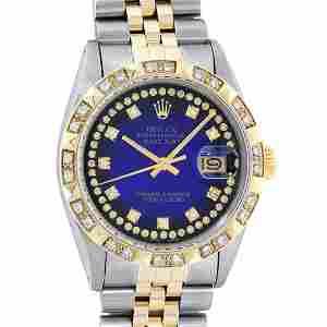 Rolex Mens 2 Tone Blue Vignette String Pyramid Diamond