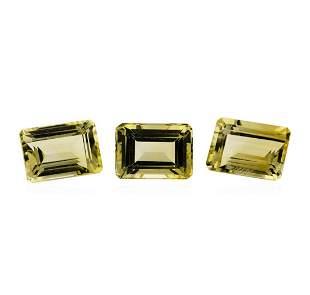 25.06 ctw.Natural Emerald Cut Citrine Quartz Parcel of