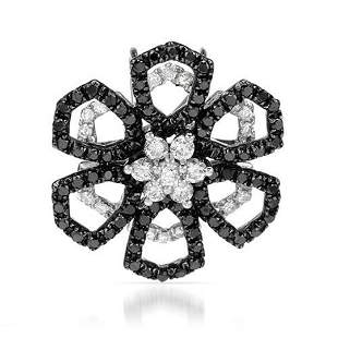 18k White Gold 0.87CTW Diamond and Black Diamonds