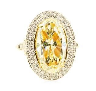4.76 ctw Yellow Diamond Ring - 18K White and Yellow
