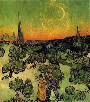 Van Gogh - Landscape With Couple Walking And Crescent