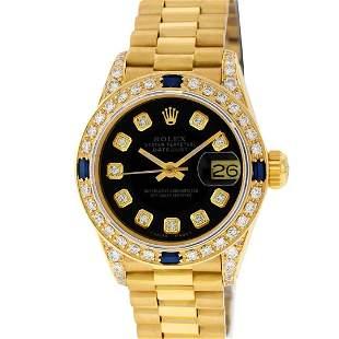 Rolex Ladies 18K Yellow Gold Black Diamond And Sapphire