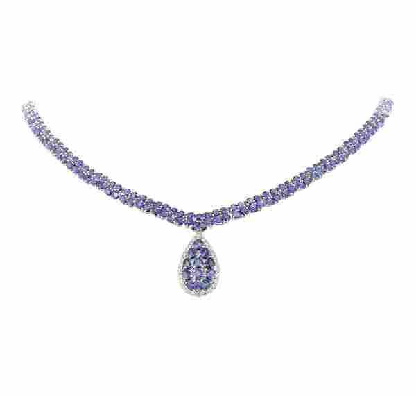 34.55 ctw Tanzanite and Diamond Necklace - 14KT White