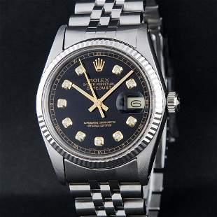 Rolex Mens Stainless Steel 36MM Black Diamond Datejust