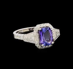 14KT White Gold 1.94 ctw Tanzanite and Diamond Ring
