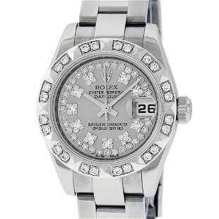 Rolex Ladies New Style Quickset Datejust Silver String