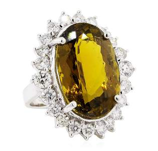 25.30 ctw Oval Mixed Golden Tourmaline And Round