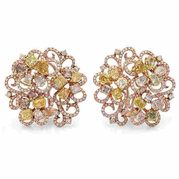 18k Three Tone Gold 7.72CTW Diamond, Pink Diamond and