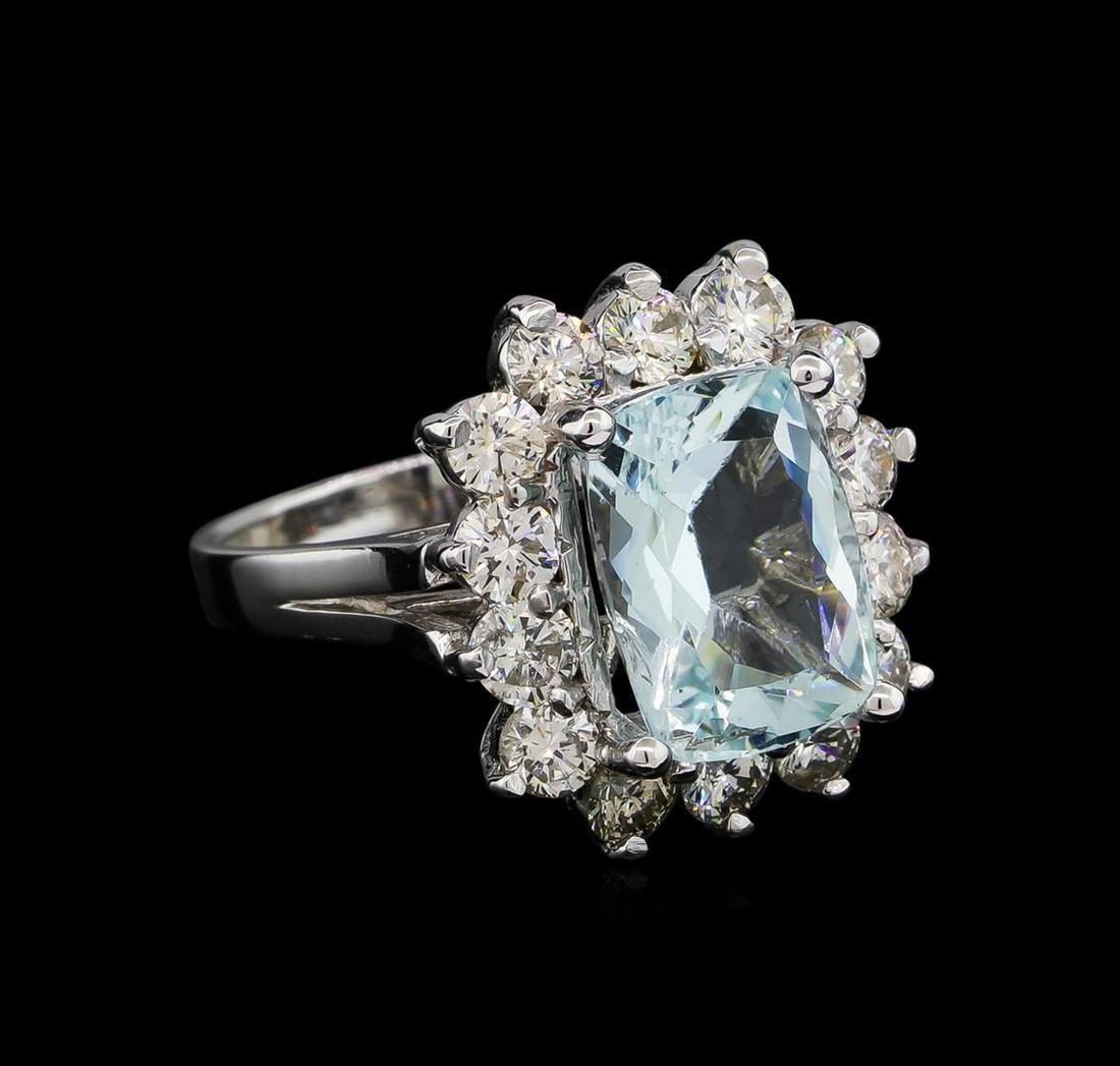 14KT White Gold 3.96 ctw Aquamarine and Diamond Ring