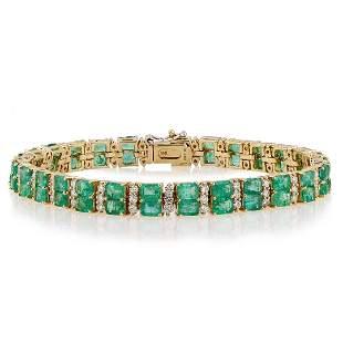 12.25 ctw Emerald and 2.20 ctw Diamond 14K Yellow Gold
