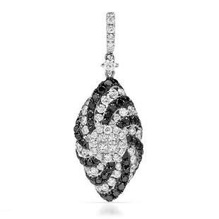 18k White Gold 1.55CTW Diamondand Black Diamonds