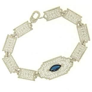 10k White Gold Filigree Link Bracelet w/ Marquise Sim