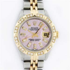Rolex Ladies 26 2T Pink MOP Baguette 18K YG Diamond