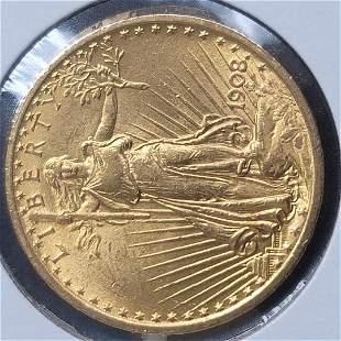 1908 No Motto $20 St. Gaudens Double Eagle Gold Coin CU