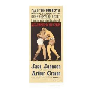Jack Johnson vs Arthur Cravan Lithograph Vintage Boxing