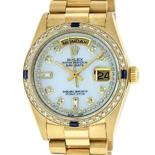 Rolex Mens 18K Yellow Gold MOP String Diamond &