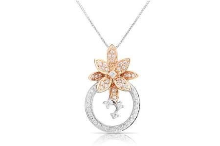 18k White/rose Gold 0.42CTW Diamond Pendant,