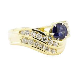 1.78 ctw Blue Sapphire And Diamond Ring - 14KT Yellow