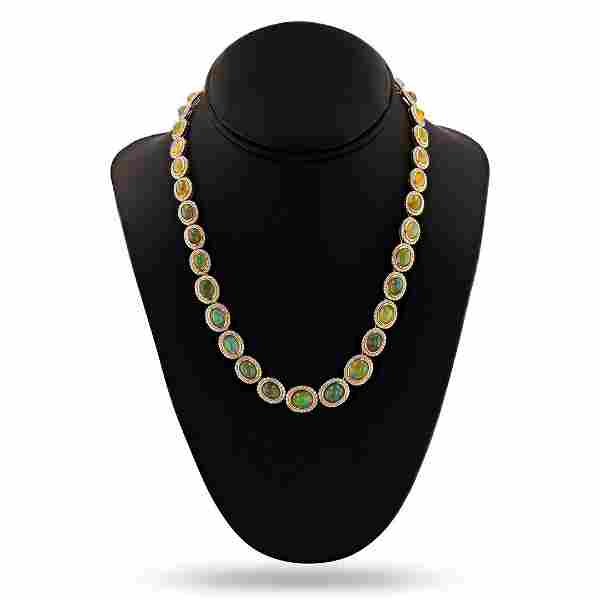 24.97 ctw Opal and 6.00 ctw Diamond 14K Yellow Gold