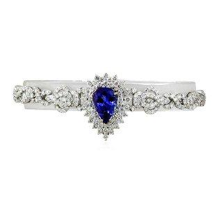 3.97 ctw Tanzanite and Diamond Bracelet - 18KT White