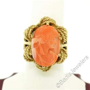 Vintage 14kt Yellow Gold Carved Coral Cameo Solitaire