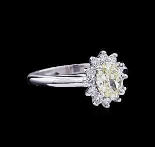 1.37 ctw Fancy Light Yellow Diamond Ring - 14KT White