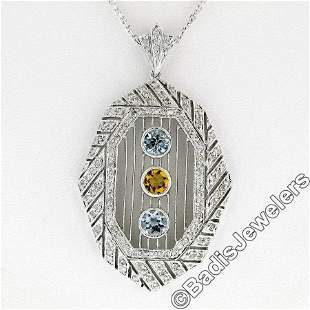 18kt White Gold 2.15 ctw Aquamarine, Citrine, & Diamond