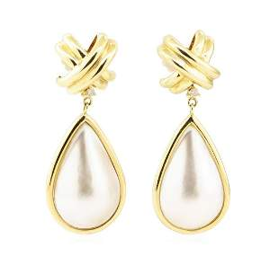 0.08 ctw Diamond and Mother of Pearl Dangle Earrings -