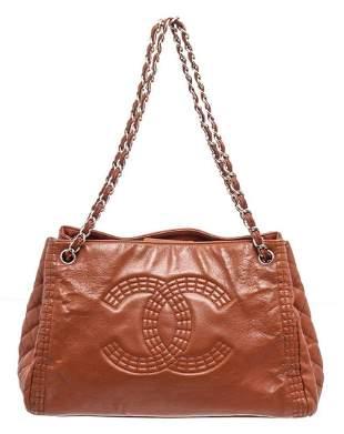 Chanel Brown Caviar Leather Chain CC Shoulder Bag