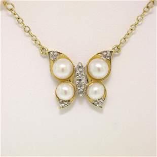 14K Yellow Gold Pearl & Diamond Butterfly Pendant
