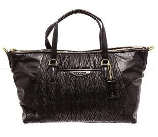 Coach Black Gathered Leather Medium Shoulder Bag
