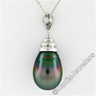 18kt White Gold Tahitian Black Pearl and 0.60 ctw