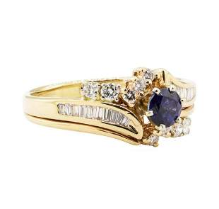 1.10 ctw Blue Sapphire and Diamond Ring - 14KT Yellow