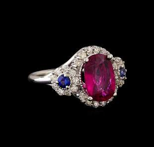 14KT White Gold 2.62 ctw Tourmaline, Sapphire and
